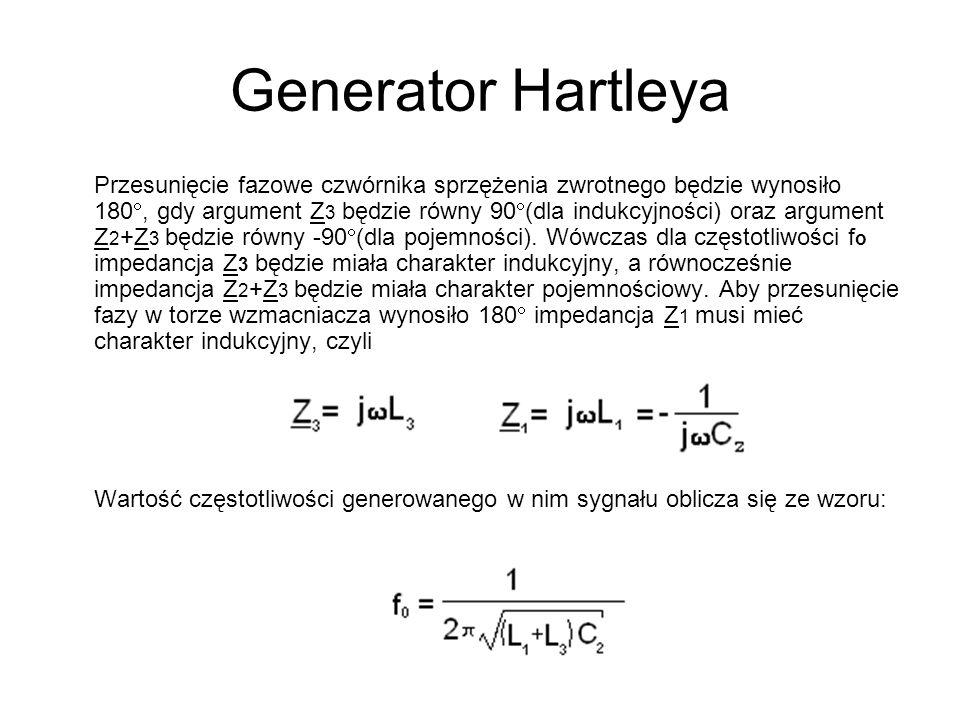 Generator Hartleya Przesunięcie fazowe czwórnika sprzężenia zwrotnego będzie wynosiło 180, gdy argument Z 3 będzie równy 90 (dla indukcyjności) oraz a