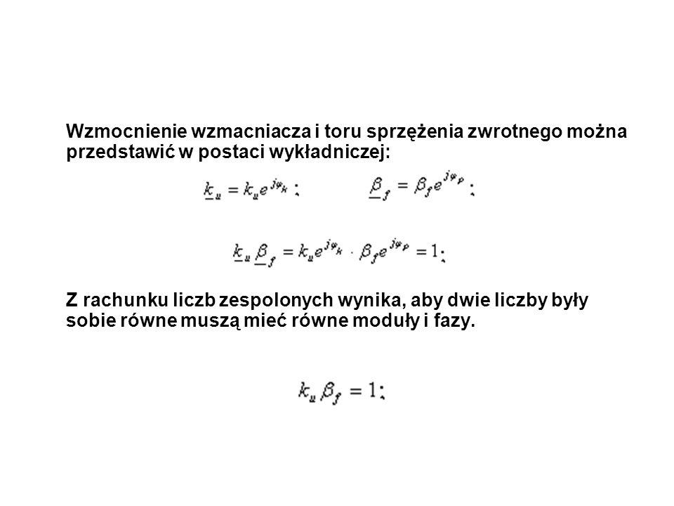 Generator Hartleya Przesunięcie fazowe czwórnika sprzężenia zwrotnego będzie wynosiło 180, gdy argument Z 3 będzie równy 90 (dla indukcyjności) oraz argument Z 2 +Z 3 będzie równy -90 (dla pojemności).