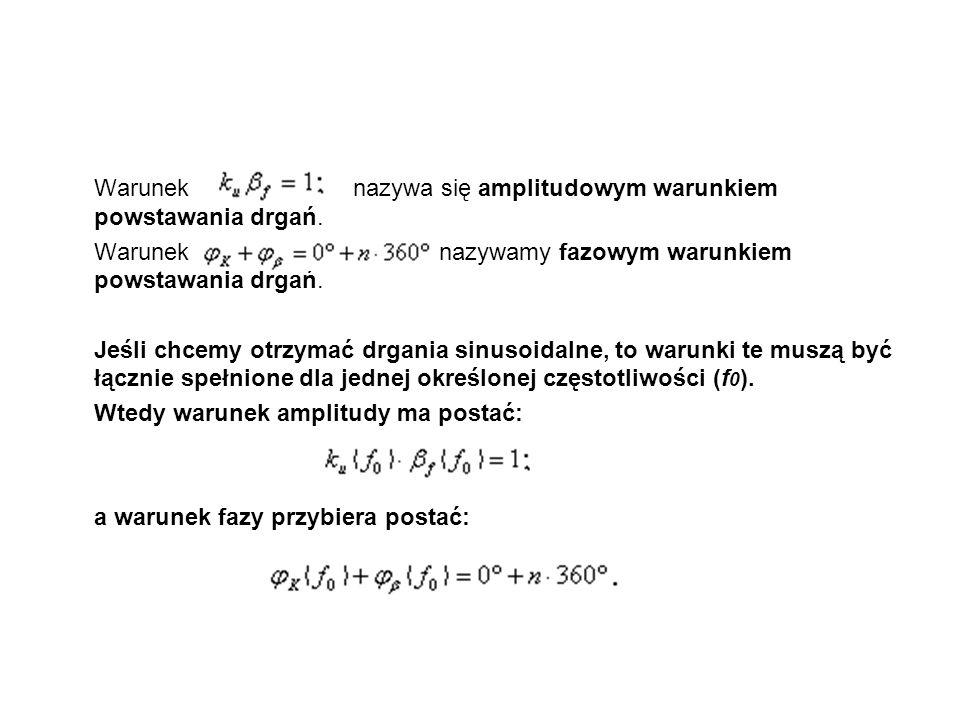 Parametry generatorów Częstotliwość generowanego przebiegu Stałość częstotliwości generowanego przebiegu – stosunek średniej wartości odchyłki częstotliwości do wartości nominalnej częstotliwości Współczynnik zawartości harmonicznych Zakres i charakter przestrajania generatora