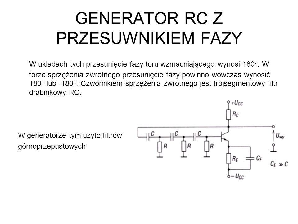 W generatorze tym użyto filtrów dolnoprzepustowych.