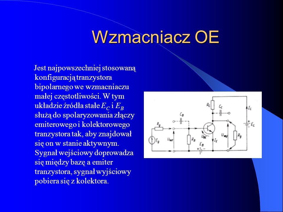 Wzmacniacz OE Jest najpowszechniej stosowaną konfiguracją tranzystora bipolarnego we wzmacniaczu małej częstotliwości. W tym układzie źródła stałe E C