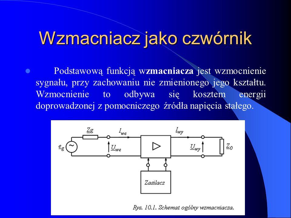 Wzmacniacz jako czwórnik Podstawową funkcją wzmacniacza jest wzmocnienie sygnału, przy zachowaniu nie zmienionego jego kształtu. Wzmocnienie to odbywa