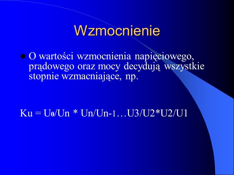 Wzmocnienie O wartości wzmocnienia napięciowego, prądowego oraz mocy decydują wszystkie stopnie wzmacniające, np. Ku = U 0 /Un * Un/Un- 1 …U3/U2*U2/U1