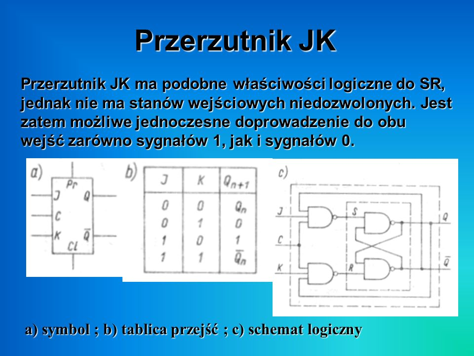 Przerzutnik JK Przerzutnik JK ma podobne właściwości logiczne do SR, jednak nie ma stanów wejściowych niedozwolonych. Jest zatem możliwe jednoczesne d