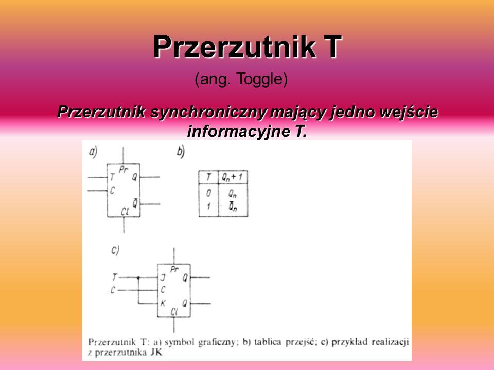 Przerzutnik T (ang. Toggle) Przerzutnik synchroniczny mający jedno wejście informacyjne T.