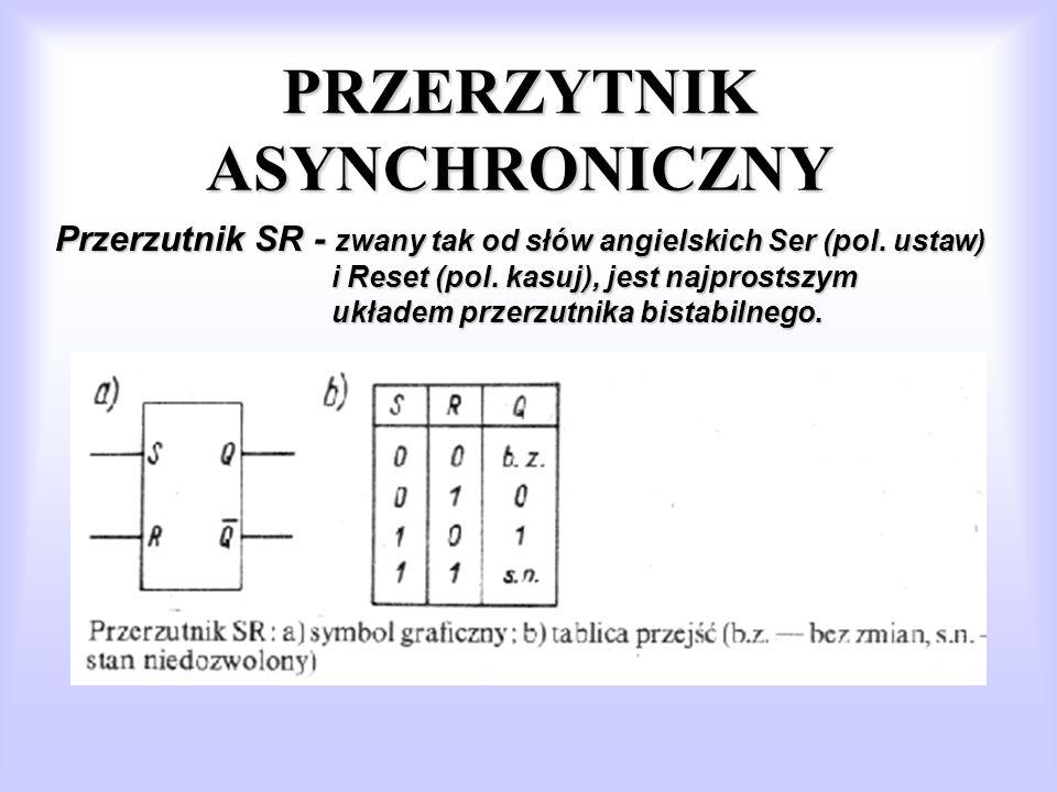 PRZERZYTNIK ASYNCHRONICZNY Przerzutnik SR - zwany tak od słów angielskich Ser (pol. ustaw) i Reset (pol. kasuj), jest najprostszym układem przerzutnik