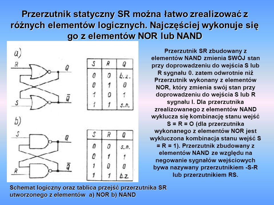 Przerzutnik statyczny SR można łatwo zrealizować z różnych elementów logicznych.