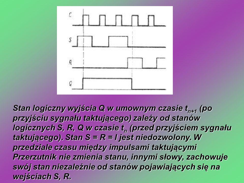 Stan logiczny wyjścia Q w umownym czasie t n+1 (po przyjściu sygnału taktującego) zależy od stanów logicznych S, R, Q w czasie t n (przed przyjściem sygnału taktującego).