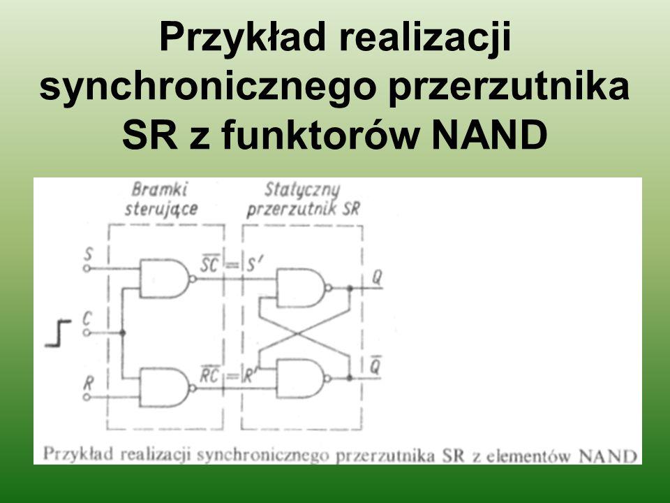 Przykład realizacji synchronicznego przerzutnika SR z funktorów NAND