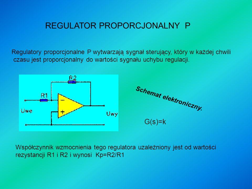 C h a r a k t e r y s t y k a r e g u l a t o r a p r o p o r c j o n a l n e g o Sygnał e(t) jest wymuszeniem skokowym podanym na wejście regulatora.