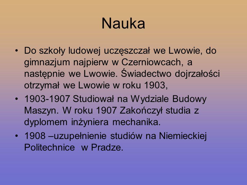 Praca W roku 1908 został zaangażowany w charakterze konstruktora przez fabrykę maszyn Zieleniewskiego w Krakowie.