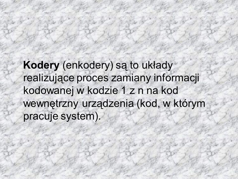 Kodery (enkodery) są to układy realizujące proces zamiany informacji kodowanej w kodzie 1 z n na kod wewnętrzny urządzenia (kod, w którym pracuje syst