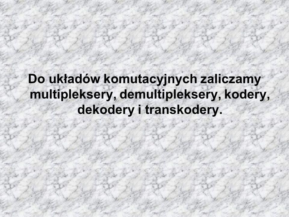 Do układów komutacyjnych zaliczamy multipleksery, demultipleksery, kodery, dekodery i transkodery.