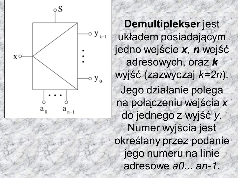 Demultiplekser jest układem posiadającym jedno wejście x, n wejść adresowych, oraz k wyjść (zazwyczaj k=2n). Jego działanie polega na połączeniu wejśc