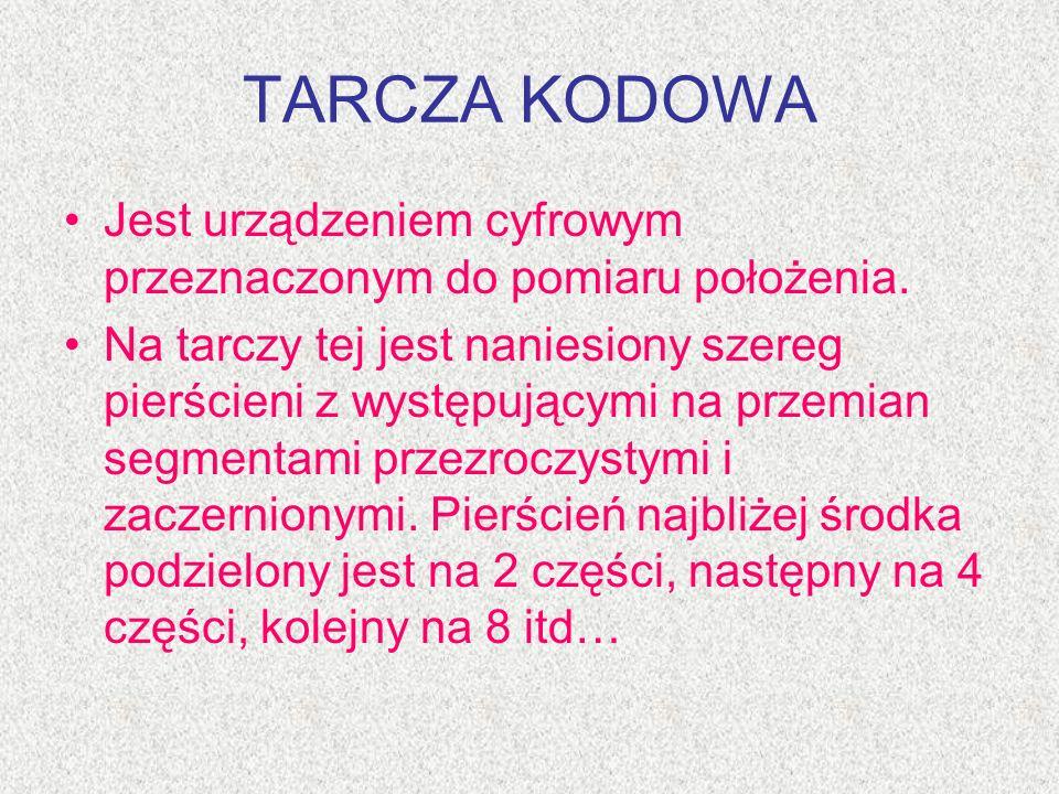 TARCZA KODOWA Jest urządzeniem cyfrowym przeznaczonym do pomiaru położenia. Na tarczy tej jest naniesiony szereg pierścieni z występującymi na przemia