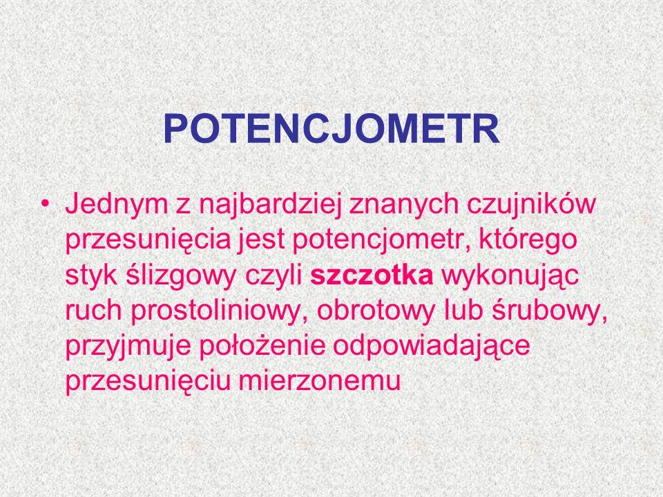 POTENCJOMETR Jednym z najbardziej znanych czujników przesunięcia jest potencjometr, którego styk ślizgowy czyli szczotka wykonując ruch prostoliniowy,
