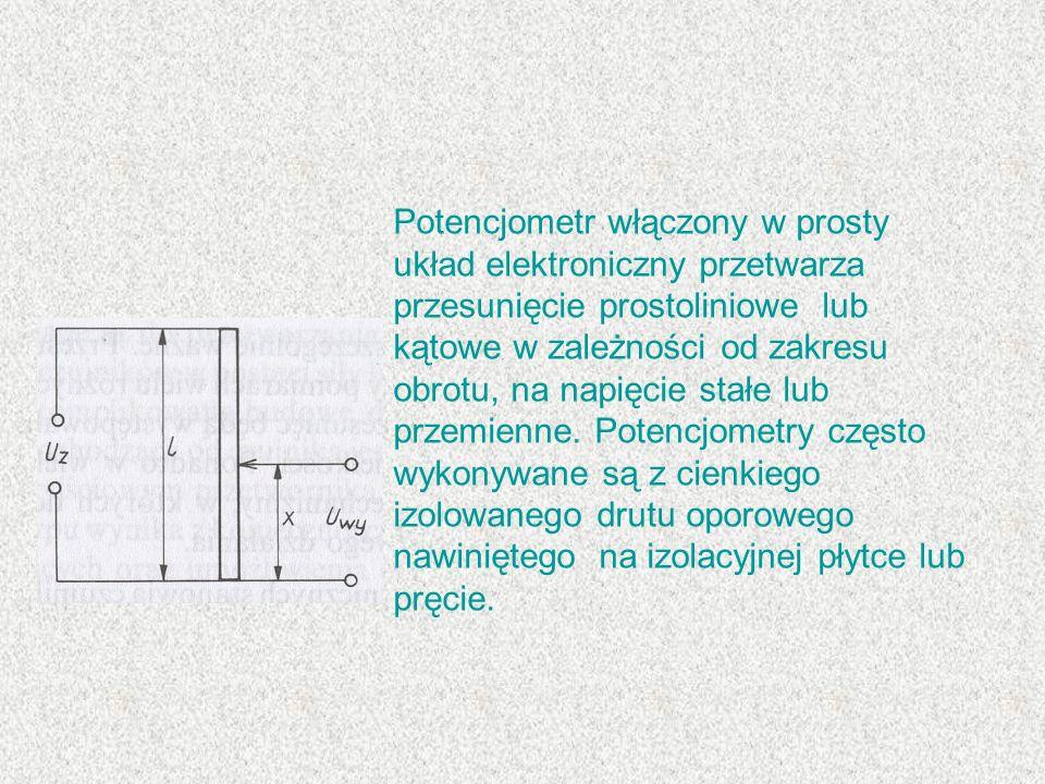Potencjometr włączony w prosty układ elektroniczny przetwarza przesunięcie prostoliniowe lub kątowe w zależności od zakresu obrotu, na napięcie stałe