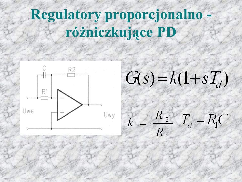 Z charakterystyki widać, że w odpowiedzi na pojawiający się uchyb regulacji e(t) następuje gwałtowny wzrost sygnału wyjściowego y(t), który następnie samoczynnie maleje.