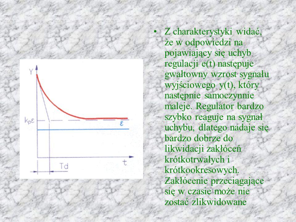 Z charakterystyki widać, że w odpowiedzi na pojawiający się uchyb regulacji e(t) następuje gwałtowny wzrost sygnału wyjściowego y(t), który następnie