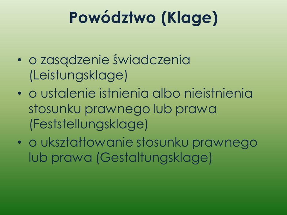 Powództwo (Klage) o zasądzenie świadczenia (Leistungsklage) o ustalenie istnienia albo nieistnienia stosunku prawnego lub prawa (Feststellungsklage) o