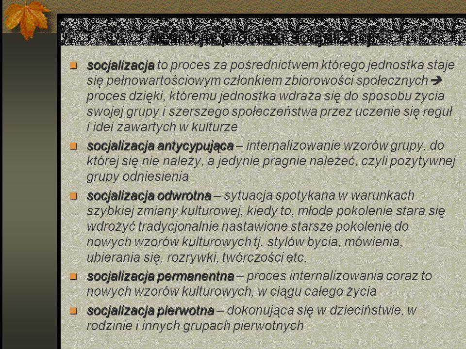 definicja procesu socjalizacji socjalizacja socjalizacja to proces za pośrednictwem którego jednostka staje się pełnowartościowym członkiem zbiorowośc