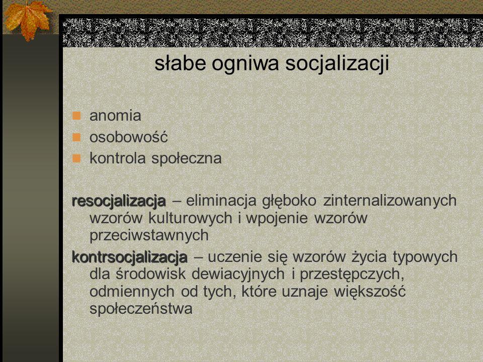 słabe ogniwa socjalizacji anomia osobowość kontrola społeczna resocjalizacja resocjalizacja – eliminacja głęboko zinternalizowanych wzorów kulturowych