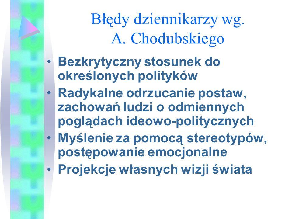 Błędy dziennikarzy wg. A. Chodubskiego Bezkrytyczny stosunek do określonych polityków Radykalne odrzucanie postaw, zachowań ludzi o odmiennych pogląda