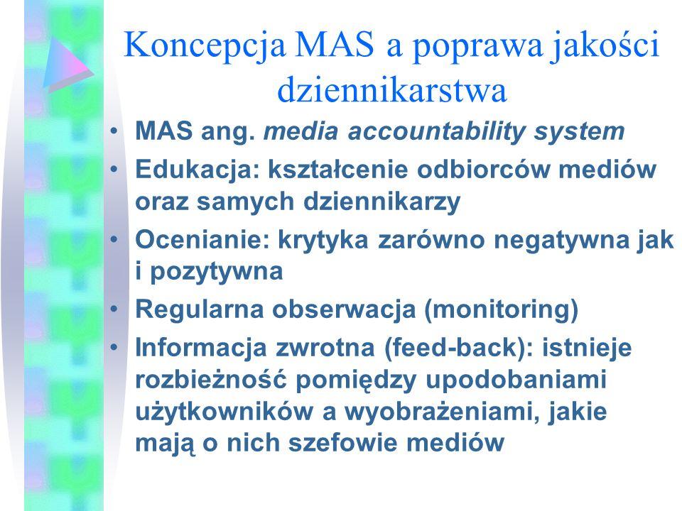 Koncepcja MAS a poprawa jakości dziennikarstwa MAS ang. media accountability system Edukacja: kształcenie odbiorców mediów oraz samych dziennikarzy Oc