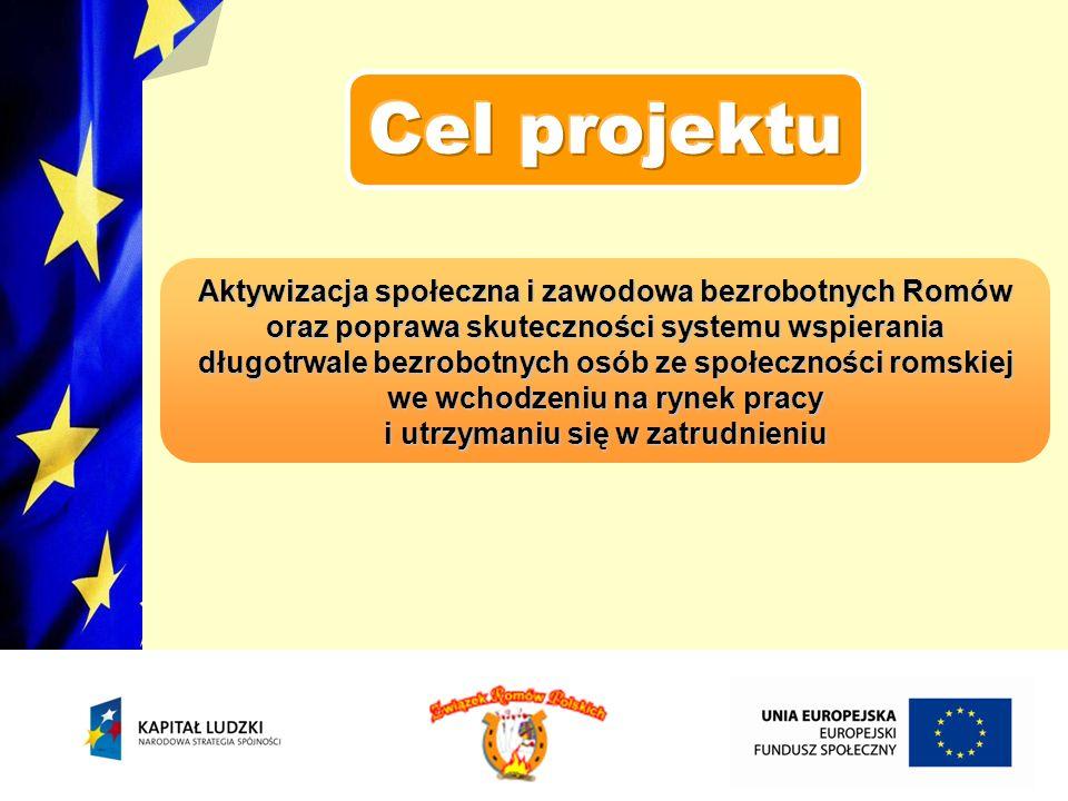 przygotowanie 17 AZ – S do świadczenia usług na rzecz bezrobotnych Romów zmniejszenie bierności i wzrost zaufania wśród społeczności romskiej, będące wynikiem pracy AZ – S promocja i świadczenie przez AZ – S usług oraz alternatywnych form zatrudnienia zebranie, uspójnienie i wypracowanie 1 modelu szkolenia dla AZ – S oraz metod i standardów w zakresie rozwiązywania problemu bezrobocia wśród Romów aktywizacja i wspieranie zawodowe przez okres 12 m – cy grupy 800 Romów organizacja 1 kampanii informacyjno – promocyjnej, szerzącej wiedzę na temat Romów, realizowanego projektu, EFS i POKL
