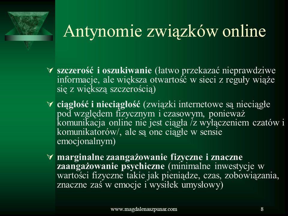 www.magdalenaszpunar.com8 Antynomie związków online szczerość i oszukiwanie (łatwo przekazać nieprawdziwe informacje, ale większa otwartość w sieci z