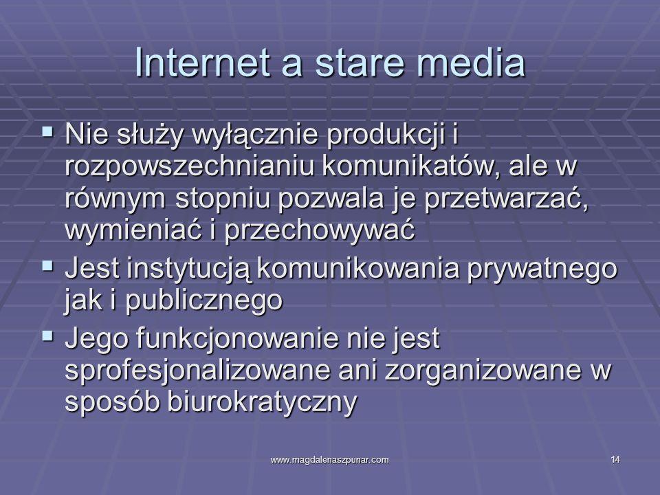 www.magdalenaszpunar.com14 Internet a stare media Nie służy wyłącznie produkcji i rozpowszechnianiu komunikatów, ale w równym stopniu pozwala je przet