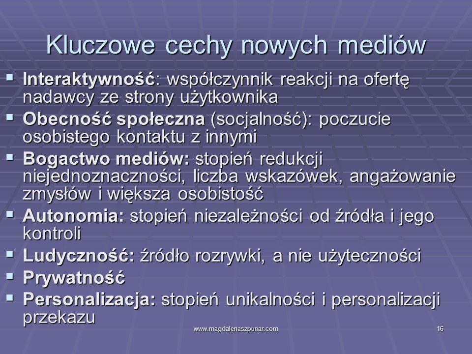 www.magdalenaszpunar.com16 Kluczowe cechy nowych mediów Interaktywność: współczynnik reakcji na ofertę nadawcy ze strony użytkownika Interaktywność: w