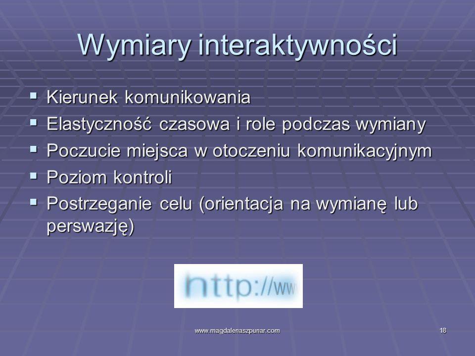www.magdalenaszpunar.com18 Wymiary interaktywności Kierunek komunikowania Kierunek komunikowania Elastyczność czasowa i role podczas wymiany Elastyczn
