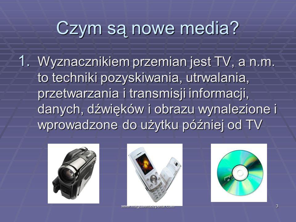 www.magdalenaszpunar.com14 Internet a stare media Nie służy wyłącznie produkcji i rozpowszechnianiu komunikatów, ale w równym stopniu pozwala je przetwarzać, wymieniać i przechowywać Nie służy wyłącznie produkcji i rozpowszechnianiu komunikatów, ale w równym stopniu pozwala je przetwarzać, wymieniać i przechowywać Jest instytucją komunikowania prywatnego jak i publicznego Jest instytucją komunikowania prywatnego jak i publicznego Jego funkcjonowanie nie jest sprofesjonalizowane ani zorganizowane w sposób biurokratyczny Jego funkcjonowanie nie jest sprofesjonalizowane ani zorganizowane w sposób biurokratyczny