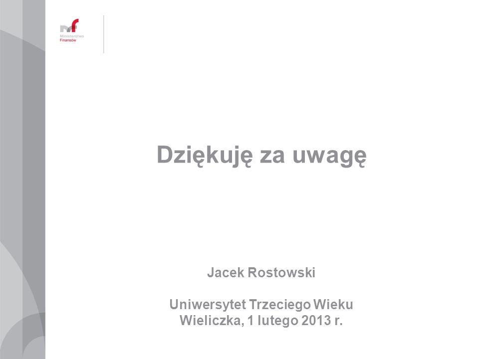 Jacek Rostowski Uniwersytet Trzeciego Wieku Wieliczka, 1 lutego 2013 r. Dziękuję za uwagę