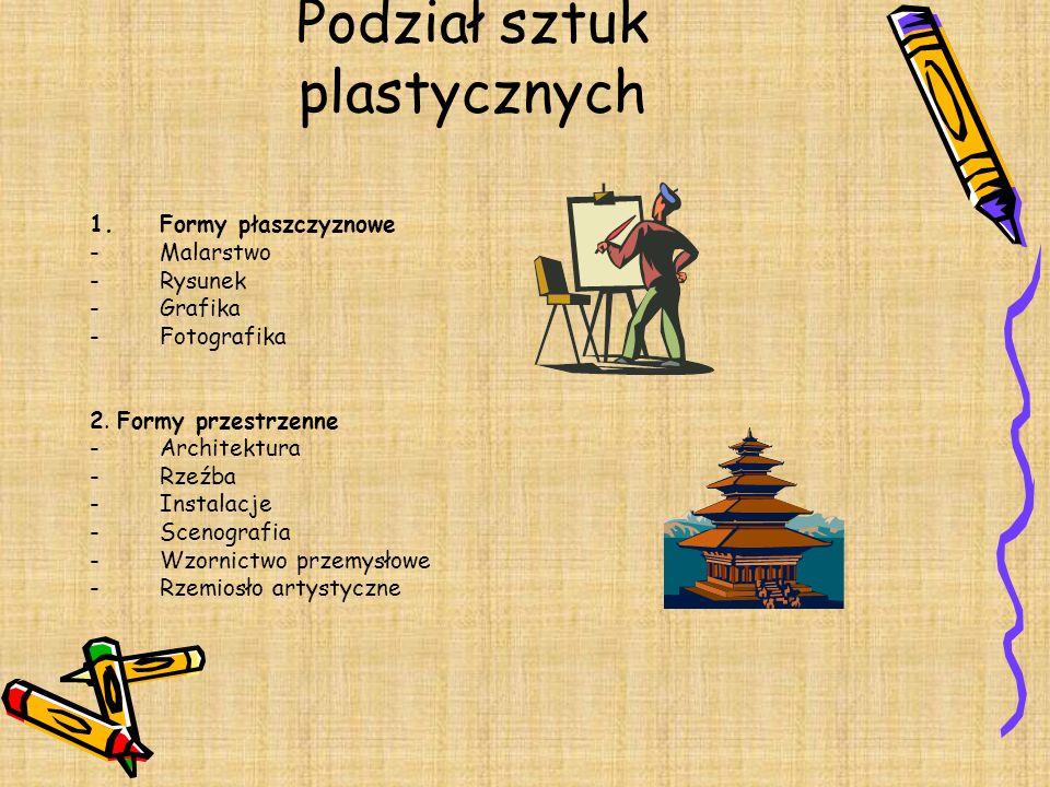 Podział sztuk plastycznych 1.Formy płaszczyznowe -Malarstwo -Rysunek -Grafika -Fotografika 2. Formy przestrzenne -Architektura -Rzeźba -Instalacje -Sc