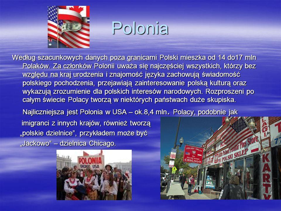 Polonia Według szacunkowych danych poza granicami Polski mieszka od 14 do17 mln Polaków. Za członków Polonii uważa się najczęściej wszystkich, którzy