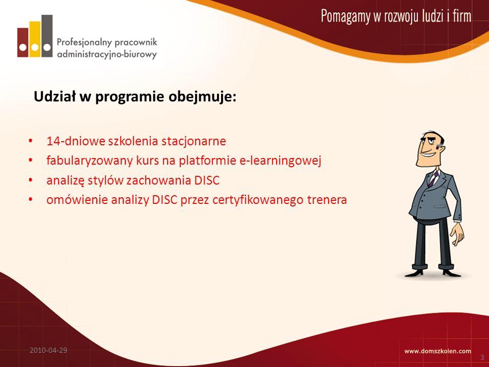 Udział w programie obejmuje: 14-dniowe szkolenia stacjonarne fabularyzowany kurs na platformie e-learningowej analizę stylów zachowania DISC omówienie analizy DISC przez certyfikowanego trenera 2010-04-29 3