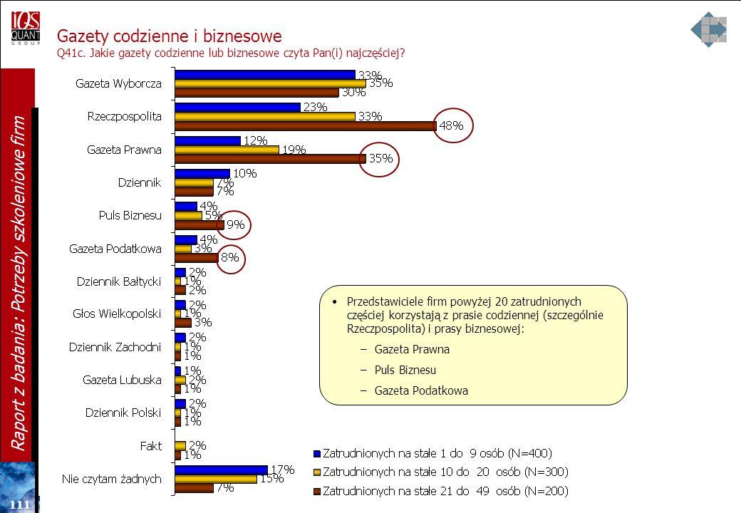 11 0 Raport z badania: Potrzeby szkoleniowe firm Gazety codzienne i biznesowe Q41c. Jakie gazety codzienne lub biznesowe czyta Pan(i) najczęściej? N=9