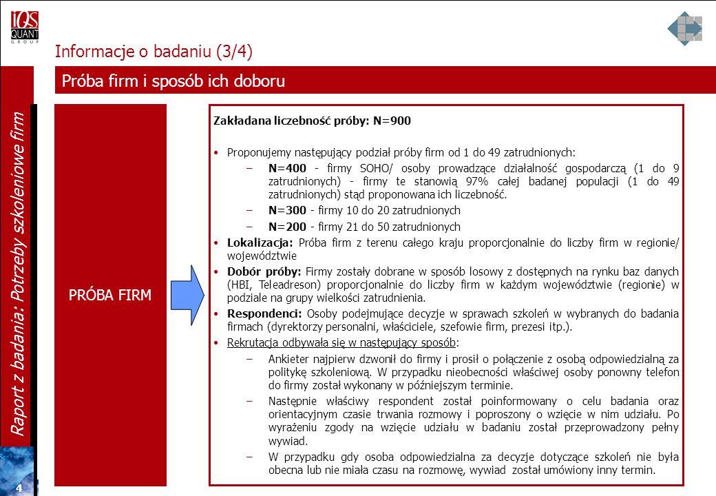 3 3 3 Raport z badania: Potrzeby szkoleniowe firm Informacje o badaniu (2/4) Technika badania TECHNIKA CATI Wywiad telefoniczny wspomagany komputerowo