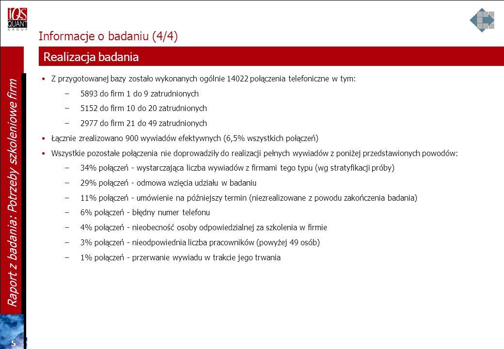 4 4 4 Raport z badania: Potrzeby szkoleniowe firm Informacje o badaniu (3/4) Próba firm i sposób ich doboru PRÓBA FIRM Zakładana liczebność próby: N=9