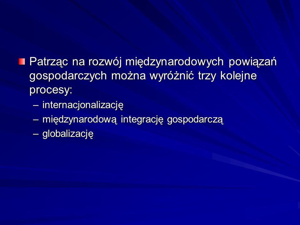 Patrząc na rozwój międzynarodowych powiązań gospodarczych można wyróżnić trzy kolejne procesy: –internacjonalizację –międzynarodową integrację gospoda