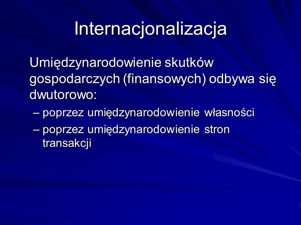 Internacjonalizacja Umiędzynarodowienie skutków gospodarczych (finansowych) odbywa się dwutorowo: –poprzez umiędzynarodowienie własności –poprzez umię