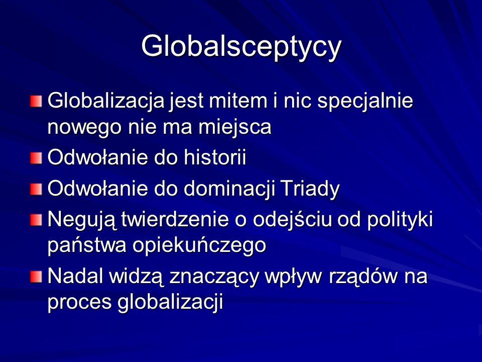 Globalsceptycy Globalizacja jest mitem i nic specjalnie nowego nie ma miejsca Odwołanie do historii Odwołanie do dominacji Triady Negują twierdzenie o