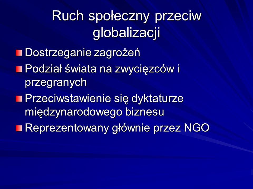 Ruch społeczny przeciw globalizacji Dostrzeganie zagrożeń Podział świata na zwycięzców i przegranych Przeciwstawienie się dyktaturze międzynarodowego