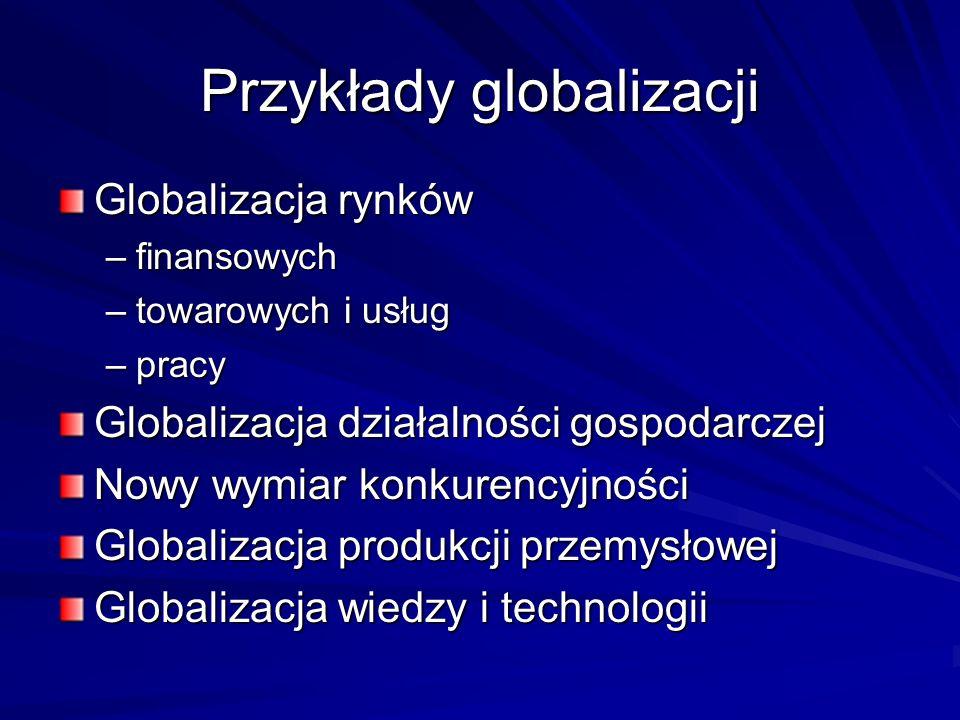 Przykłady globalizacji Globalizacja rynków –finansowych –towarowych i usług –pracy Globalizacja działalności gospodarczej Nowy wymiar konkurencyjności