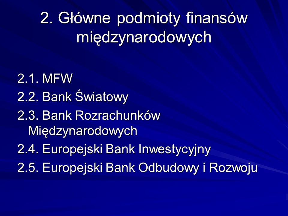 2. Główne podmioty finansów międzynarodowych 2.1. MFW 2.2. Bank Światowy 2.3. Bank Rozrachunków Międzynarodowych 2.4. Europejski Bank Inwestycyjny 2.5
