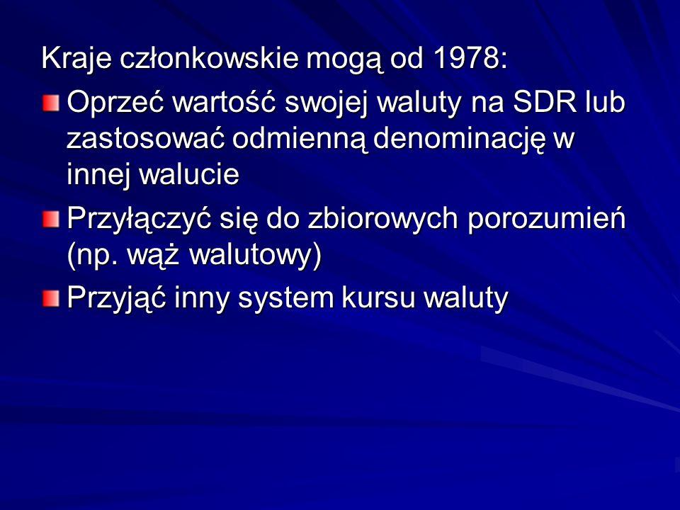 Kraje członkowskie mogą od 1978: Oprzeć wartość swojej waluty na SDR lub zastosować odmienną denominację w innej walucie Przyłączyć się do zbiorowych