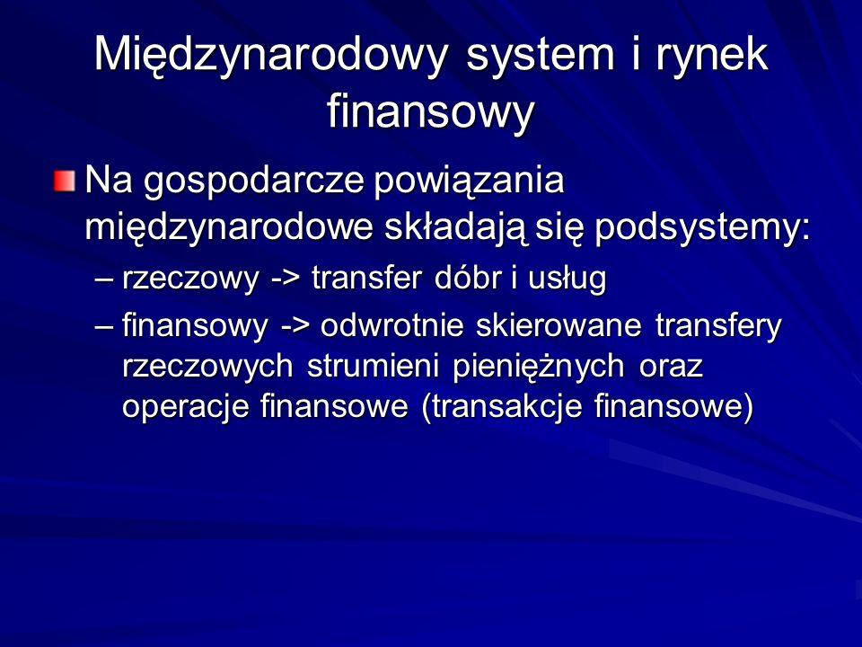 Międzynarodowy system i rynek finansowy Na gospodarcze powiązania międzynarodowe składają się podsystemy: –rzeczowy -> transfer dóbr i usług –finansow