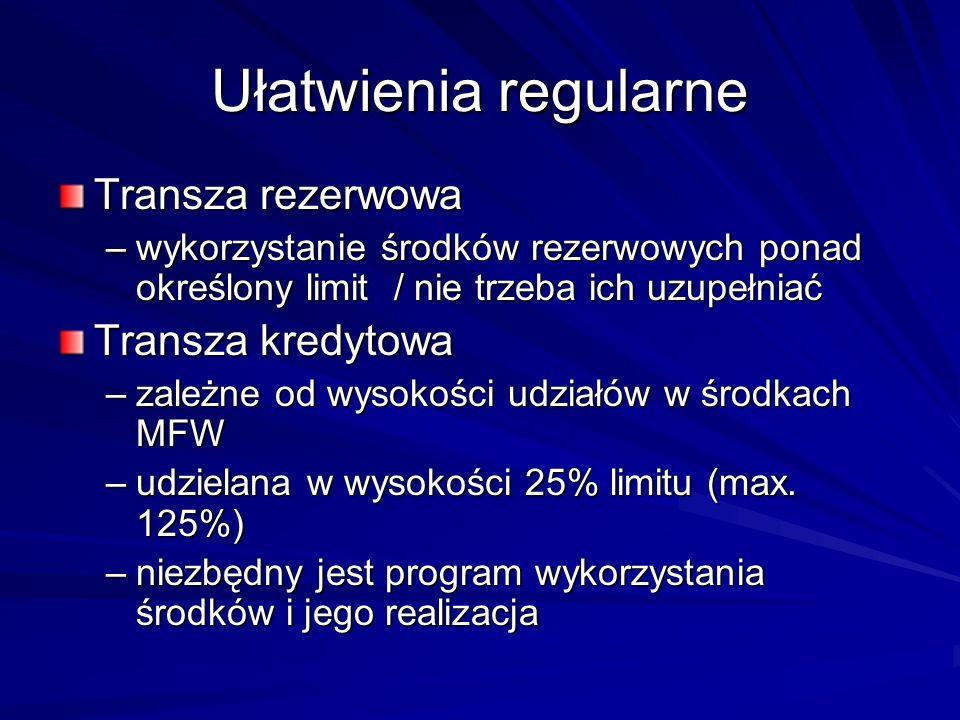 Ułatwienia regularne Transza rezerwowa –wykorzystanie środków rezerwowych ponad określony limit / nie trzeba ich uzupełniać Transza kredytowa –zależne